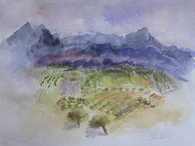 Napa Valley Vineyard Watercolor Painting - Napa Valley Ll by Carolyn Zbavitel