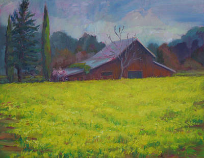 Early Spring Painting - Napa Valley Mustards And Red Barn by Deirdre Shibano