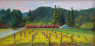 Napa Valley Vineyard Painting - Napa Valley Mustards On Silverado Trail by Deirdre Shibano