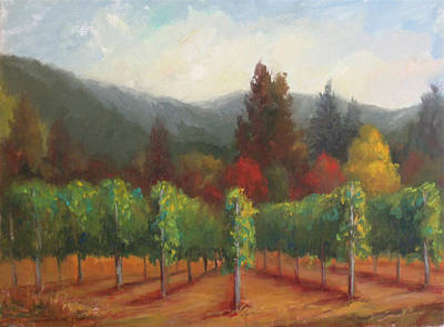 Napa Valley Vineyard Painting - Napa Valley Vineyards Harvest Time By Deirdre Shibano by Deirdre Shibano