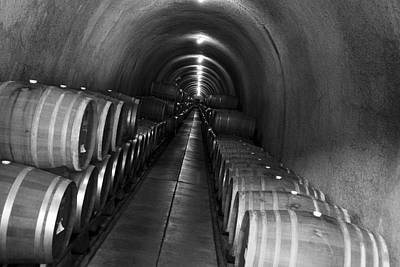 Wine Barrel Photograph - Napa Wine Barrels In Cellar by Shane Kelly