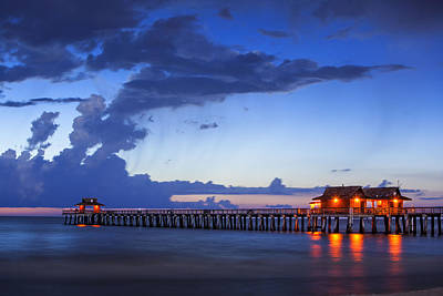 Photograph - Naples Pier Stillness  by Nick  Shirghio