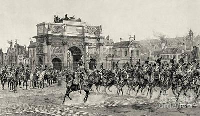 Arc De Triomphe Du Carrousel Wall Art - Photograph - Napoleon Reviewing Calvary, 1810 by Photo Researchers