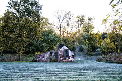 Narcissa Springhouse In Fall Art Print by Bill Cannon