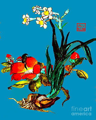 On Paper Photograph - Narcissus And Camillia - Chinese Watercolor by Merton Allen
