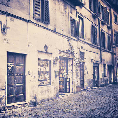 narrow street in Rome Art Print by Joana Kruse