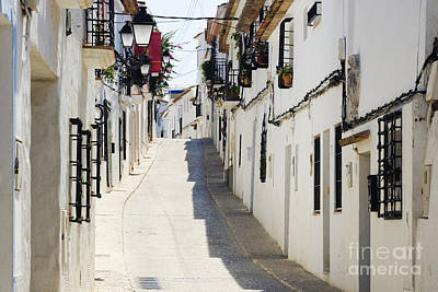 Altea Photograph - Narrow Street In White Town Of Altea by Jeremy Woodhouse