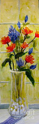 Art Print featuring the painting Narrow Window Flowers by Gretchen Allen