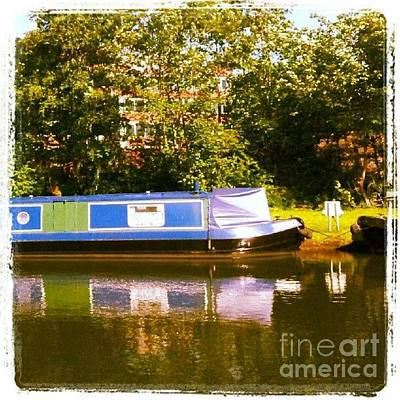 Summer Wall Art - Photograph - Narrowboat In Blue by Isabella Shores
