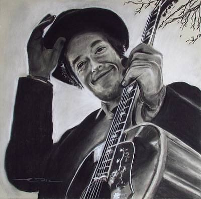 Dylan Drawing - Nashville Skyline - Dylan by Eric Dee
