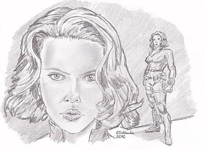 Drawing - Natasha Romanova- Black Widow by Chris  DelVecchio