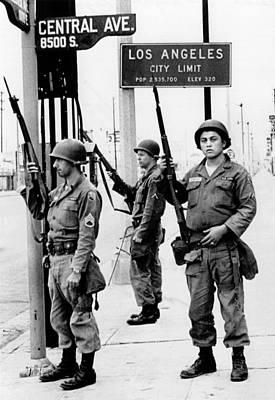 National Guardsmen At A Los Angeles Art Print by Everett
