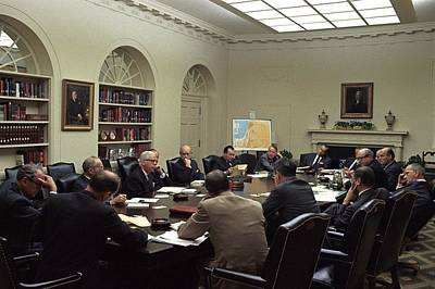 Lyndon Photograph - National Security Council Meeting by Everett