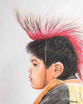 Pastel - Native American Boy With Headdress by Kate Sumners