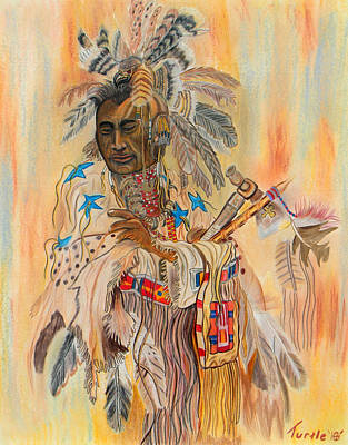 Native American Colored Pencil Rendition Of A Larry Fanning Oil Painting Art Print by The Nothing Machine Ink