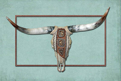 Longhorn Mixed Media - Native American Cow Skull by Rene Gibson
