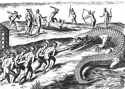 Jacques Le Moyne Photograph - Native American Indians Crocodile by Photo Researchers
