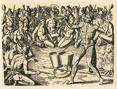 Theodor De Bry Photograph - Native American Indians, War Dance by Photo Researchers