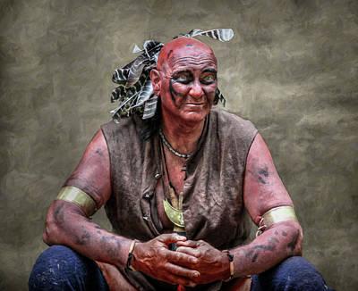 Native American Reenactor Portrait Art Print by Randy Steele