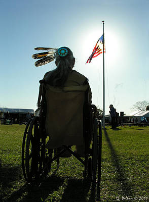 Native American Veteran In Wheel Chair Art Print