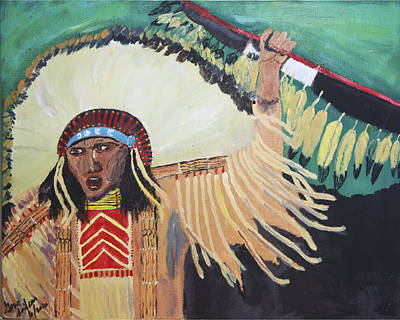 Painting - Native American Warrior by Swabby Soileau
