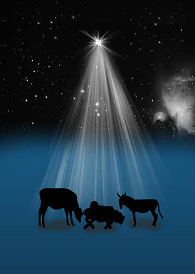 Nativity And Christmas Star Art Print by Delores Knowles
