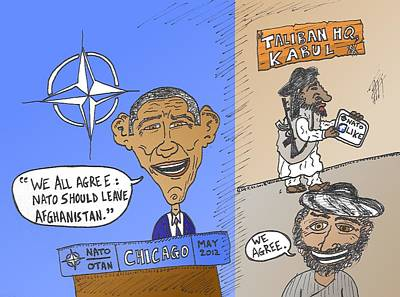 Binary Options News Cartoon Mixed Media - Nato Agrees With Taliban Caricature by OptionsClick BlogArt