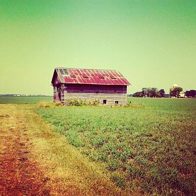 Color Contrast Wall Art - Photograph - #nature #field #barn #country #old by Jami Tammerine