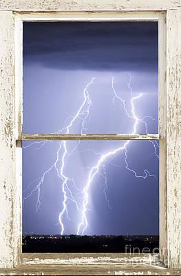 Nature Strikes White Rustic Barn Picture Window Frame Photo Art Art Print