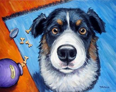 Naughty Dog Painting - Naughty Australian Shepherd by Dottie Dracos