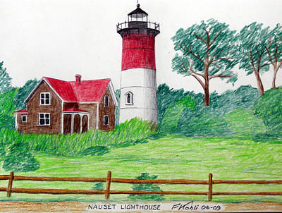 Nauset Lighthouse Drawing Art Print