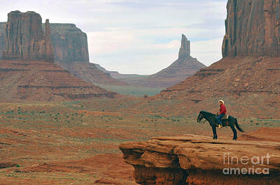 Photograph - Navejo On Horse In Mounument Valley Park by Dan Friend
