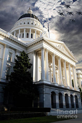Navy Blue Angels Flying Over The California State Capitol . 7d11771 Art Print