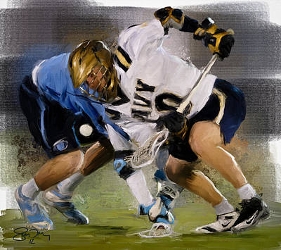 Lacrosse Painting - College Lacrosse Faceoff 6 by Scott Melby