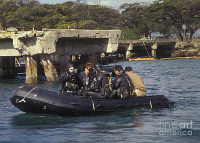 Inflatable Photograph - Navy Seals Combat Swimmers Sitting by Michael Wood