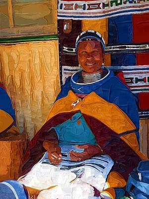 Beadwork Digital Art - Ndebele Lady by Amanda Moore