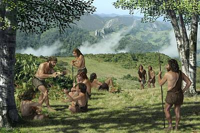 Neanderthals In Summer, Artwork Art Print by Mauricio Anton