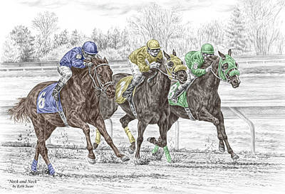 Drawing - Neck And Neck - Horse Race Print Color Tinted by Kelli Swan