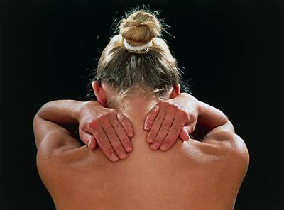 Neck/shoulder Pain:hands Of Woman Held Behind Neck Art Print