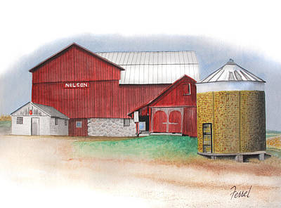 Corn Painting - Nelson Barn West by Ferrel Cordle