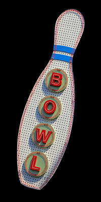 Photograph - Neon Bowling Sign 2 by Andrew Fare