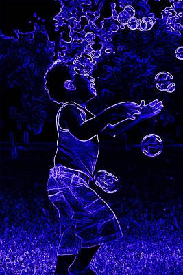 Photograph - Neon Boy Playing With Bubbles by Sheila Kay McIntyre