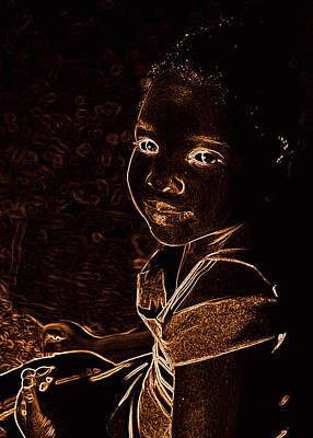 Photograph - Neon Bronze Girl by Sheila Kay McIntyre