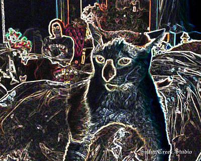 Neon Cat Art Print by Sulfur Creek Studio