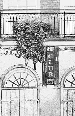 Digital Art - Neon Club Sign Bourbon Street Corner French Quarter Black And White Colored Pencil Digital Art by Shawn O'Brien