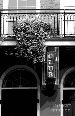 Digital Art - Neon Club Sign Bourbon Street Corner French Quarter Black And White Cutout Digital Art by Shawn O'Brien