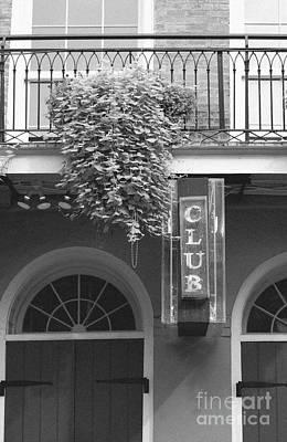 Neon Club Sign Bourbon Street Corner French Quarter Black And White Film Grain Digital Art Art Print