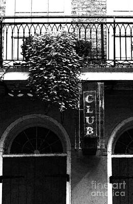 Digital Art - Neon Club Sign Bourbon Street Corner French Quarter Black And White Fresco Digital Art by Shawn O'Brien