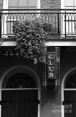 Digital Art - Neon Club Sign Bourbon Street Corner French Quarter Black And White Poster Edges Digital Art by Shawn O'Brien