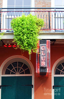Digital Art - Neon Club Sign Bourbon Street Corner French Quarter New Orleans Accented Edges Digital Art by Shawn O'Brien